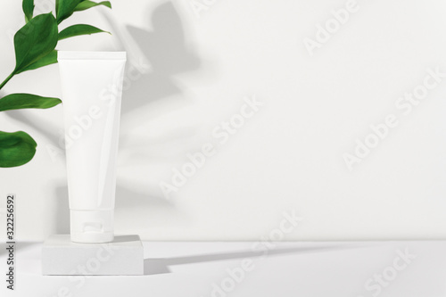 Canvas Print White cosmetic products tube on stand