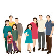 isolated, silhouette family, flat style, no face