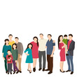 isolated, silhouette family, flat style