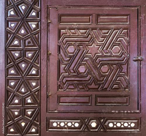 Fotografija Single arabesque sash of an old ottoman era style built-in cupboard with geometr