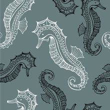 Hand Drawn Sea Horses Coloring...