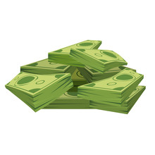 Stack Of Pile Of Dollars Money With Perspective View. Flat And Solid Color Cartoon Style Vector Illustration.