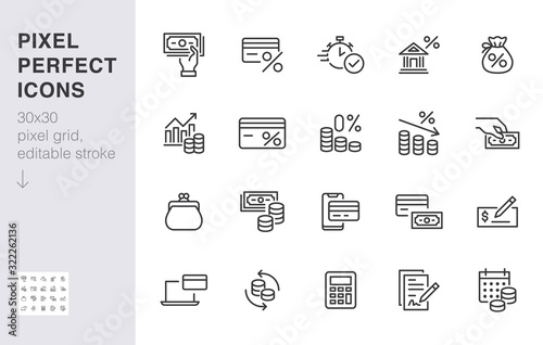 Fototapeta Money loan line icon set