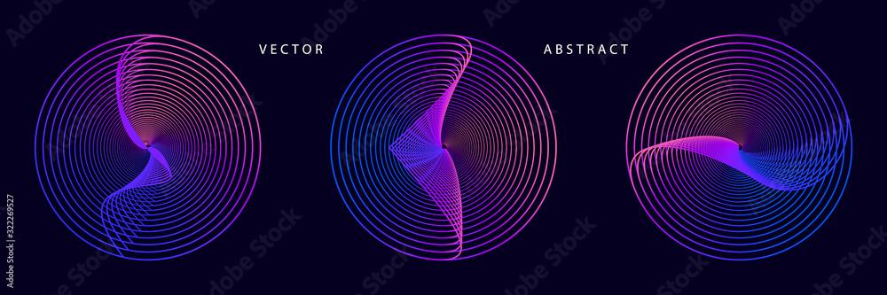 Fototapeta Set of Futuristic Graphic Elements in Purplish Red Tones on Dark Background. Abstract Vector Symbols.
