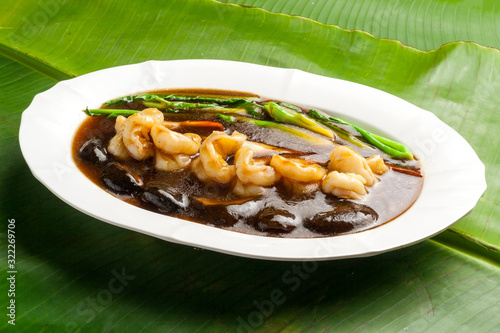 Photo Stir Fried Shrimp with Asparagus, Shiitake mushroom , Chinese style