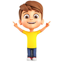 Boy Cartoon Character Points His Finger Up On A Blank Space. 3d Render Illustration.