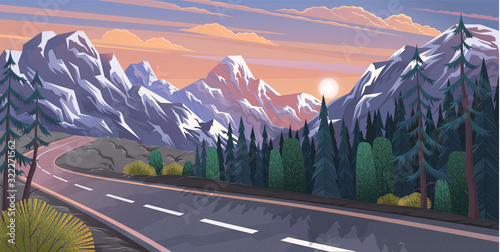 Fototapeta Landscape with curvy road and mountain range. Travel or trip through scenery of rural or countryside surroundings. Adventures road trip and wanderlust. Summer forest by highway in evening on sunset obraz