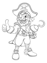 A Pirate Captain Cartoon Character In Black And White Outline Like A Colouring Book Page