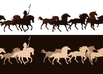 native american tribal chief riding horse among galloping mustang herd - horizontally seamless vector silhouette border design