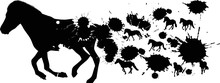 Running Horse From Black Blots...