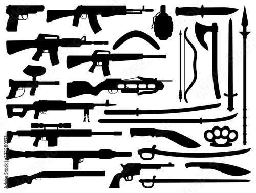 Weapon black vector silhouettes with guns, grenade and knives, firearms and melee weapons Canvas Print