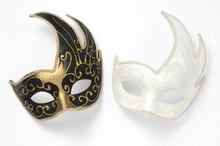 Two Black And White Theater Or Mardi Gras Venetian Masks On White Background