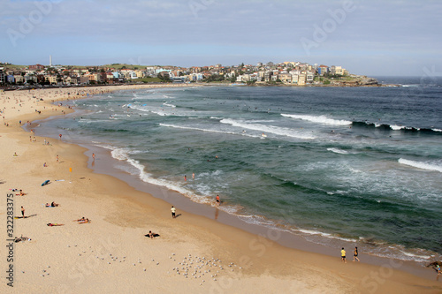 People are relaxing at the Bondy beach Australia on a sunny stormy day Canvas Print