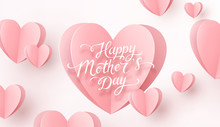 Postcard With Pink Flying Paper Hearts On White Background. Vector Symbols Of Love For Happy Mother's Day Greeting Card Design..