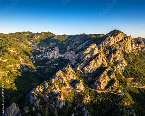Castelmezzano village in Apennines Dolomiti Lucane Canvas Print