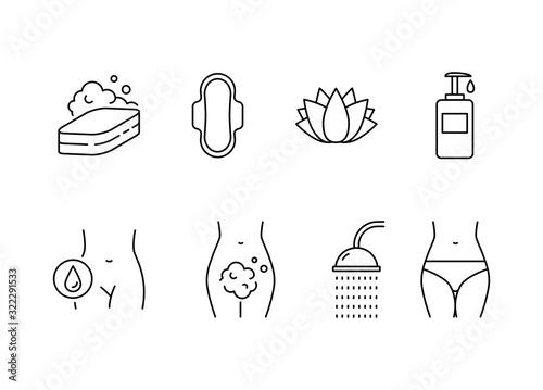 Fotografía Intimate hygiene vector icons set line style