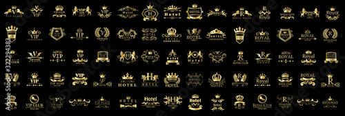 Foto Royal Logo Set - Isolated On Black Background - Vector Illustration, Graphic Design