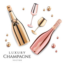 Rose Gold Champagne Bottles With Wine Glasses, Luxury Festive Alcohol Products For Celebration, Vector Illustration.