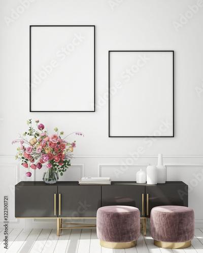 mock up poster frame in modern interior background, living room, Scandinavian st Fototapeta