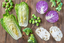 Assortment Of Different Cruciferous Vegetables