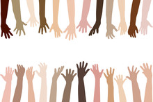 Raised Hands Of Different Race Skin