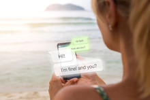 Blonde Woman At The Beach With Smartphone And Chat App In The Screen. Young Woman Chatting. Phone Application. Millennial. Communications.
