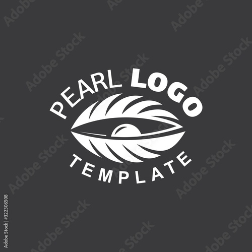 Pearl Logo white color cockle silhouette black background Fototapet