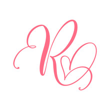 Vector Vintage Floral Monogram Letter R. Calligraphy Element Heart Logo Valentine Card Flourish Frame. Hand Drawn Love Sign For Page Decoration And Design Illustration