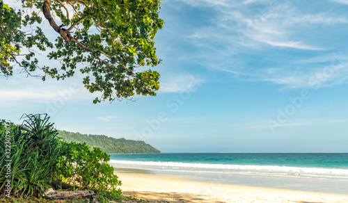 Photo Beautiful Landscape of uninhabited Tropical Island coastline with ample greenery, mountain and calm ocean waves of turquoise color