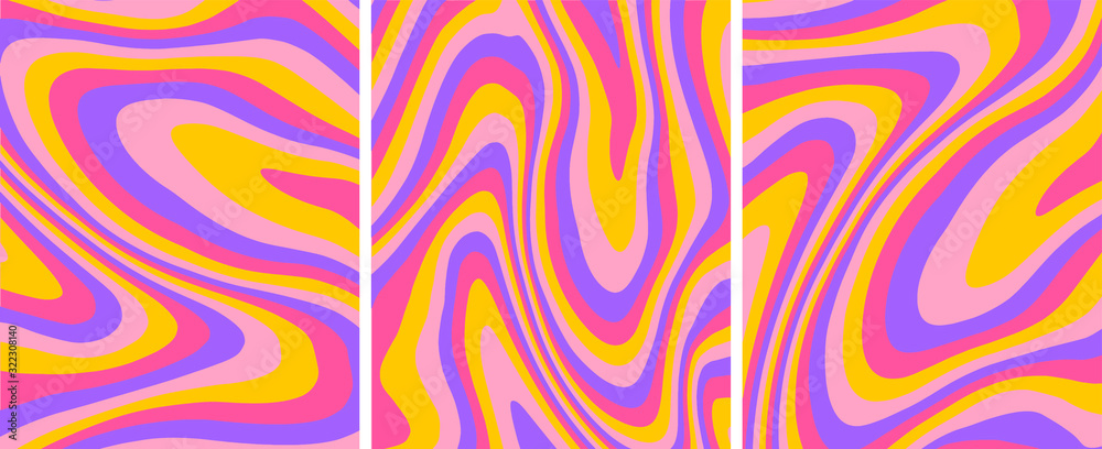Fototapeta Retro psychedelic abstract art template set,vector