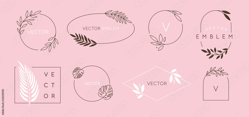 Fototapeta Vector logo design template and monogram concept in trendy linear style - floral frame with copy space for text