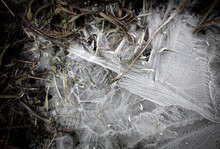 Ice In A Frozen Puddle As A Ba...