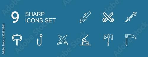 Obraz na plátně Editable 9 sharp icons for web and mobile