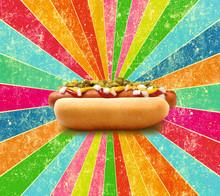 Hot Dog Tasty On A Rainbow Bac...