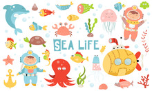 Cute Sea Life Set. Hand Drawn....
