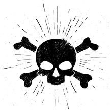 Vector Illustration Black Hand Drawn Skull And Crossbones In Vintage Style