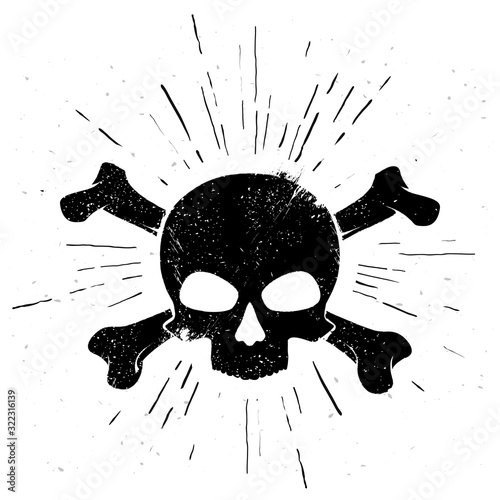 vector illustration black hand drawn skull and crossbones in vintage style фототапет