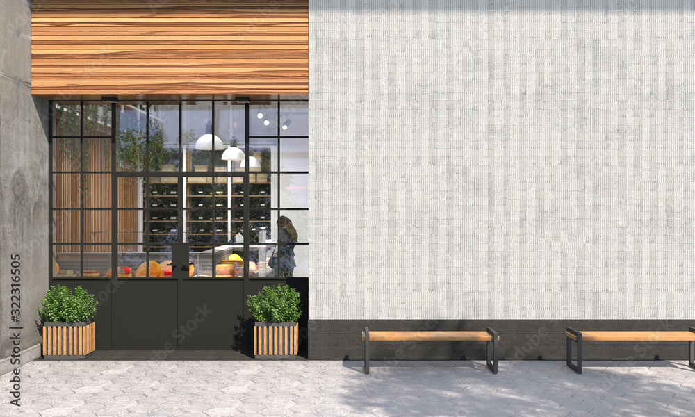 Fototapeta The facade of a store or cafe with an entrance group and blank wall in front view. Free space for signage, advertising banners and posters. Exterior and architecture design. 3D render.