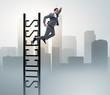 Leinwanddruck Bild Businessman slipping from the top of ladder