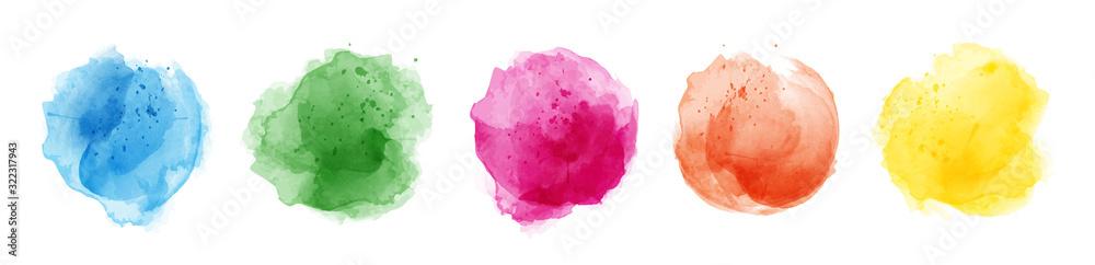 Fototapeta Set of watercolor circles multicolored