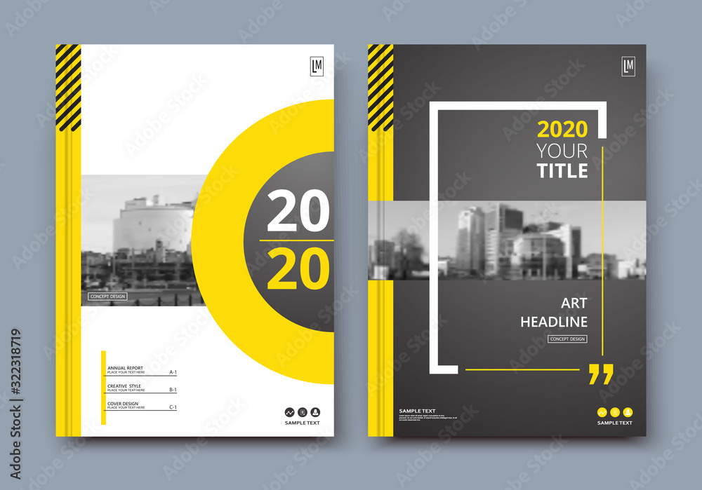 Fototapeta Abstract a4 brochure cover design. Ad text frame. Urban city view font. Title sheet model. Modern vector front page. Brand logo. Banner texture. Black, white ring figure, Yellow line icon. Flyer fiber