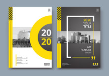 Abstract A4 Brochure Cover Design. Ad Text Frame. Urban City View Font. Title Sheet Model. Modern Vector Front Page. Brand Logo. Banner Texture. Black, White Ring Figure, Yellow Line Icon. Flyer Fiber