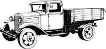 Vintage Truck With Body, 1920s, Monogram, Black, Vector Drawing, Graphic, Isolated, Monogram, Symbol, Logo