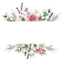Watercolor Floral Border With ...