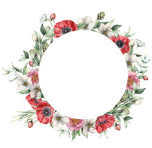 Watercolor Floral Wreath With ...