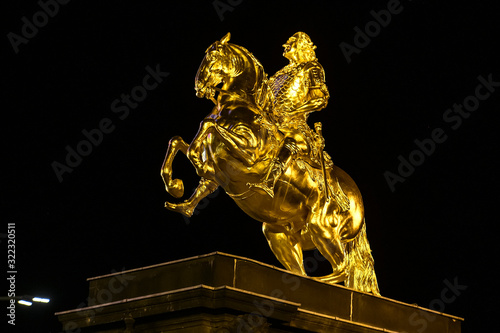 The Golden Rider or Goldener Reiter, the statue of August the Strong in Dresden, Saxony, Germany Canvas Print