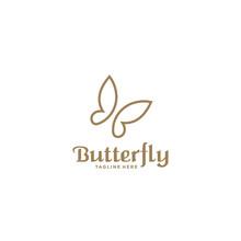 Simple Unique Luxury Butterfly Logo Design Vector