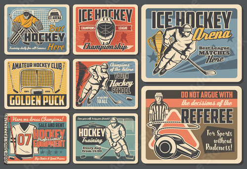 Fototapeta Ice hockey vector design of players, sport sticks, pucks and championship trophy cups, team uniform, skates, goalie helmets and masks, gloves, referee whistle and goal gates. Ice hockey retro posters obraz