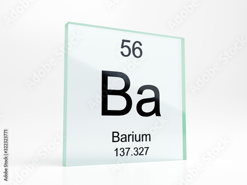 Photo Barium element symbol from periodic table on glass icon - realistic 3D render