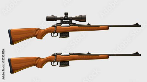 Fototapeta sniper rifles set side view obraz